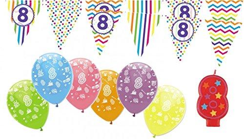 8. Geburtstag Girlande + Luftballons + Kerze Deko Set – Acht