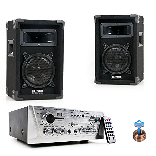 Party Musikanlage PA Lautsprecher USB SD MP3 Hifi Bluetooth Verstärker Kabel DJ-Compact 10