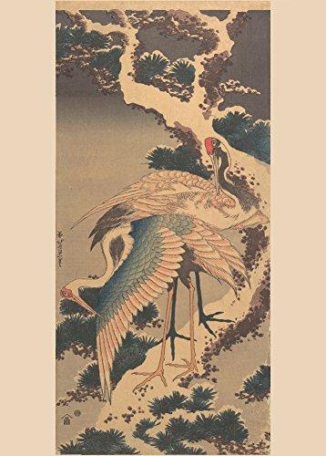 HOKUSAI Cranes on a snowy Pine - Póster con reproducción japonesa brillante del siglo XVIII-XIX, 250gsm, A3