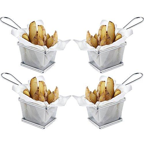 VonShef Set da 4 cestini mini cromati per servire il fritto - Ideale per patatine, patatine fritte, spicchi, anelli di cipolla, gamberetti, gamberi, tabas e presentazione di cibo