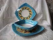 Servizio di piatti decorato a mano 18 pz in ceramica decorato a mano. forma quadrata x 6