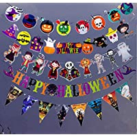 KEXIN Halloween Flag Bunting, Paper Bunting Pumpkin Spider Bat Party Haunt House Decorating Halloween Flag Banner Party Decoration