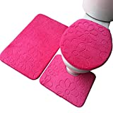 Demarkt Badgarnitur 3 tlg Set WC Vorleger Badematten Set für Toilet für Toilet (Rosa)