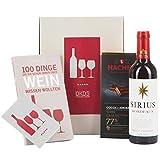 DKDS Collection Geschenkset-Wine start up, mit Sirius Rotwein, Wein-Buch und Premium Edel-Bitterschokolade von Hachez (1 x 0.375 l)