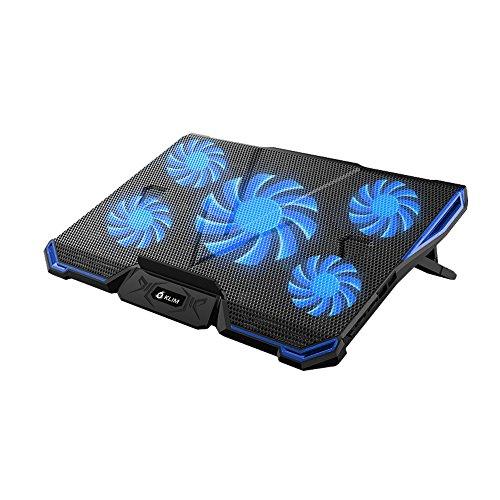 Base refrigerante para portátil KLIM CYCLONE – La refrigeración más potente – 5 ventiladores – Base de refrigeración para ordenador - gaming (Azul)