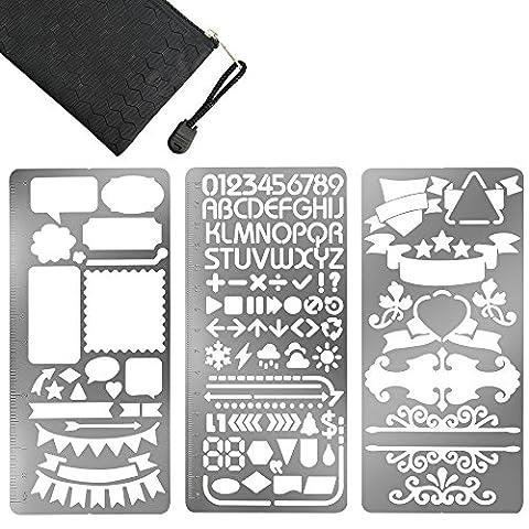GIMARS 3pcs Dessin Règle de Peinture Pochoir Portable en acier inoxydable règle métal signet modèle numéro ruler stencils pour enfant scrapbooking artisanat
