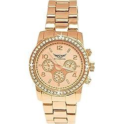 NY London designer Damen Strass Chronograph Damenuhr in Rose Gold Uhr inkl. Uhrenbox