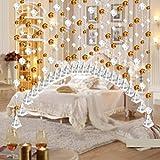 Moginp Vorhang,Kristallglas Perlen Luxus Vorhänge Wohnzimmer Schlafzimmer Fenster Tür Hochzeit Dekor Gardinen (A)
