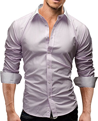 MERISH Homme Chemise Classique, Manches Longues SlimFit coup d'oeil rayé adapté pour toutes les occasions Modell 43 purple