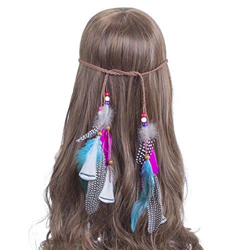 Feder Stirnband Hippie Boho Kopfschmuck - Feder Haarband Gürtel Frau Feuer Party Haar Zubehör Quasten Haar Band