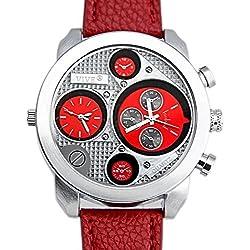 Banger Dualtime Red Chronograph for Men Double Temps Zwei Zonen Navigator Herrenuhr XL Atlas Modell mit 2 Uhrwerken Weltzeituhr Schwarz Silber mit Lederarmband Rote Kontrastnähte