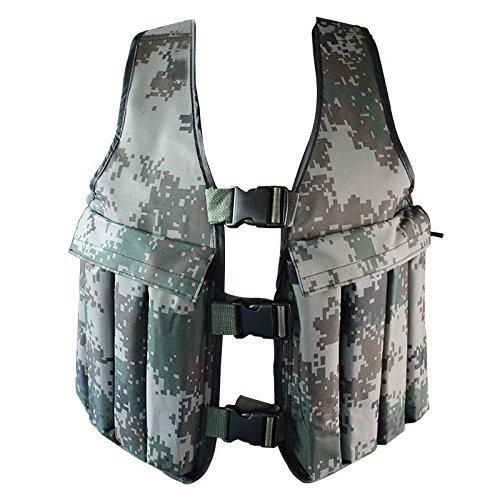 Yosoo 20KG/44lbs Verstellbare Camouflage Gewichtsweste Weight Vest Trainingsweste Training Workout Fitness Sport Jacket