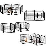 Milo & Misty strapazierfähiges großes Metall-Laufgitter mit 8 Paneele für Welpen / Hunde / Hasen / Haustiere Gehege (80 X 60cm)