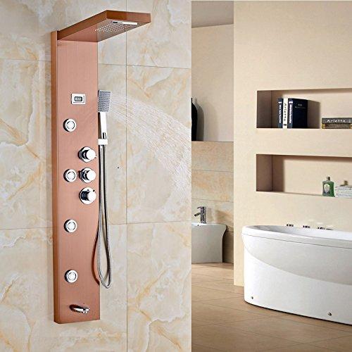 Luxurious shower Rose Gold thermostatische Dusche Spalte drei Griffe an der Wand montierte Body Massage Jet Dusche -