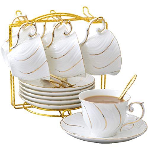 Kaffeetasse Teeset Set Haushaltstasse 6er Pack Einfache Keramik-Nachmittagsteetasse Teekanne Tablett B 8-teiliges Set 200ml