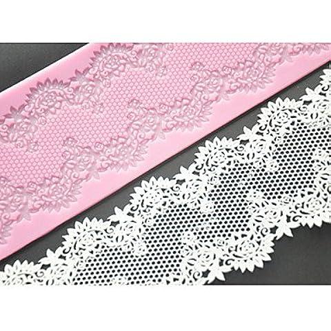 Y&XL&H quattro c silicone pizzo torta mat torta muffa decorazione delle forniture, attrezzi della torta del silicone opaco fondente colore rosa