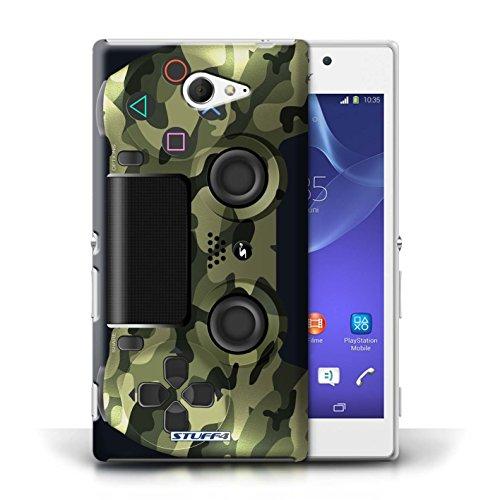 Stuff4 Hülle / Case für Sony Xperia M2 / Grün Tarnung Muster / Playstation PS4 Kollektion