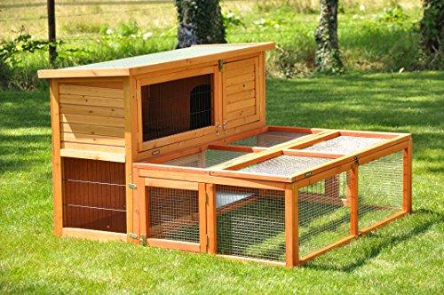 nanook Max – Freigehege zum Anbau für Kaninchenställe, klappbares und verriegelbares Dach, Farbe: natur – Größe S (123 x 80 cm) - 5