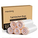 Meidong Strong Trash Bags Large Garbage Bags 13 Gallon with Portable Drawstring, for Kitchen Living Room Bathroom Bedroom Office Junkyard (5 Rolls, 115 Counts in All)