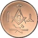 1 Unze 999 reines Kupfer 39 mm rund MASON Freimaurer 1 oz Bullion Minze Freimaurer Münze