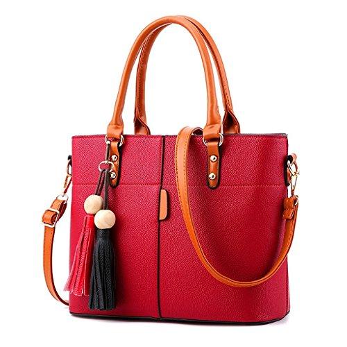 Baymate Damen Sommer Mode Schulter Messenger Bag beiläufige Handtasche mit Fransen Tasche große Taschetasche Wein Rot
