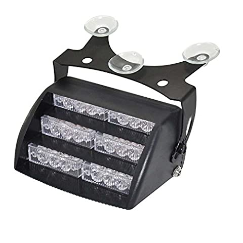 LEDHOLYT 5w 18 LEDs Warning Caution Emergency Light Bar Strobe Work Flashing Car Glass Sucker Amber(Yellow) Light Color DC 12V
