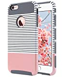 ULAK iPhone 6s Hülle, iPhone 6 Hülle Dual Layer Case Cover Hybrid Schild TPU + PC Hard Case Cover für iPhone 6s/6 4,7 Zoll (Roségold Streifen + Grau)