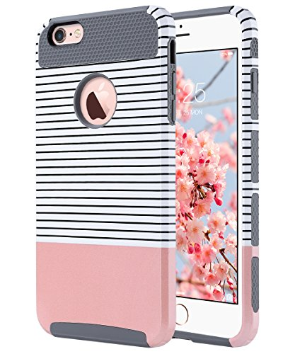 AK iPhone 6 hülle Dual Layer Case Cover Hybrid Schild TPU + PC Hard Case Cover für iPhone 6s / 6 4,7 Zoll (Roségold Streifen + Grau) (Iphone 6 Hybrid Case)