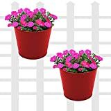 Klaxon Railing Planters - Round Hanging Railing Planters for Balcony (7 inch, Red - 2 PCS)
