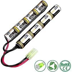 Keenstone Airsoft Batterie Bâton NiMH 9,6 V 1600 mAh Nunchuk Bâton pour Fusil à Air Comprimé ICS CA TM SRC JG G36 G&M734 etc + Mini Connecteur de Haute Décharge