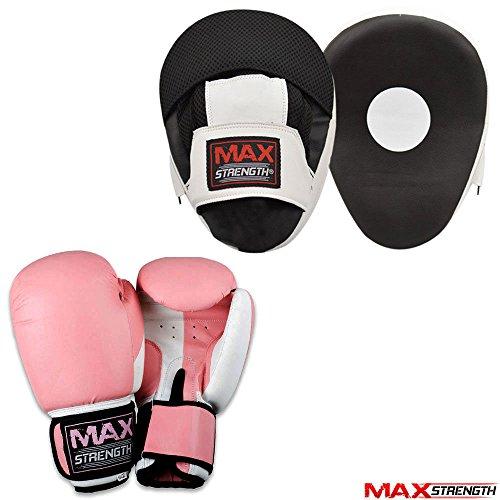 Maxstrength rosa Boxhandschuhe für Damen und Trainings-, Sparring und Boxpratzen , pink/schwarz, 226,8 g (8 oz) (Rosa Handschuhe Stanzen)