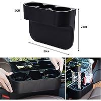 WSS Bandeja lateral multiusos para coche | Organizador portátil grande y negro para teléfonos, almacenamiento