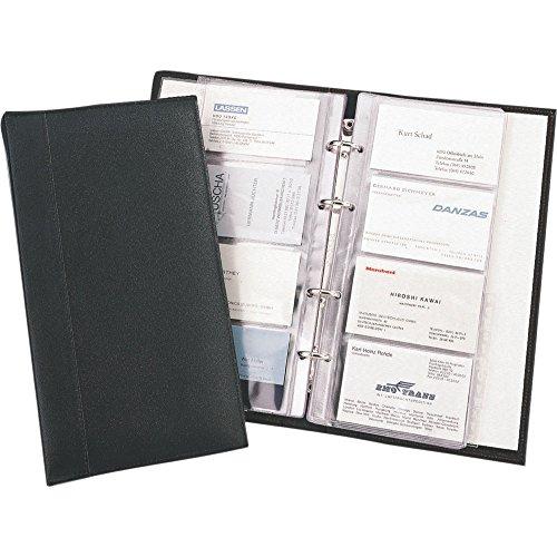 Alassio Visitenkarten Ringbuch Sammler Mappe inkl. A-Z Register für 120 Karten Lederimitat schwarz 41008