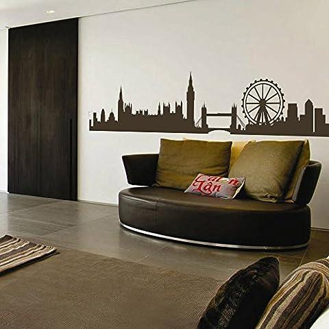 Adesivo da parete Skyline di Londra London Skyline Silhouette Adesivo da parete Inghilterra città decorazione da parete parete grafica casa decorazione, Vinile, marrone scuro, 16