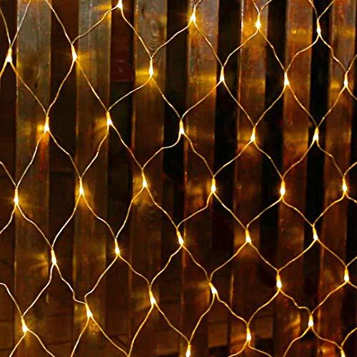 Salcar 3 * 2M LED Guirlande Lumineuses Filet, Lumières de Rideau Noël avec 8 Effets d'Eclairage Différents pour Intérieur et Extérieur Décoration, Jardin, Balcon, Fêtes, Party(Blanc chaud)