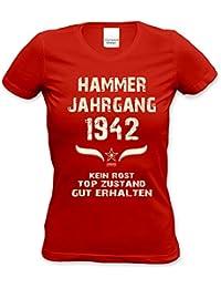 Geburtstagsgeschenk T Shirt Frauen Geschenk Zum 75. Geburtstag Hammer  Jahrgang 1942   Damenshirt