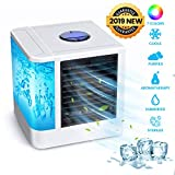 OUTERDO Air Cooler, Portable Air Conditioner, Humidifier, Purifier Portable Mini Air Conditioner, USB Cooler 7 Colors LED Night for Personal Space