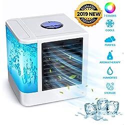 OUTERDO Climatiseur Portables, Refroidisseur d'Air Personnel USB Humidificateur Mini-Ventilateur de Bureau avec Réservoir d'Eau Indépendant Del 7 Couleurs et 3 Vitesses pour Maison/Bureau