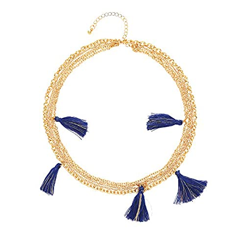 Front Row Gold Colour Multi-strand Navy and Gold Tassel Necklace of Length 45-51cm