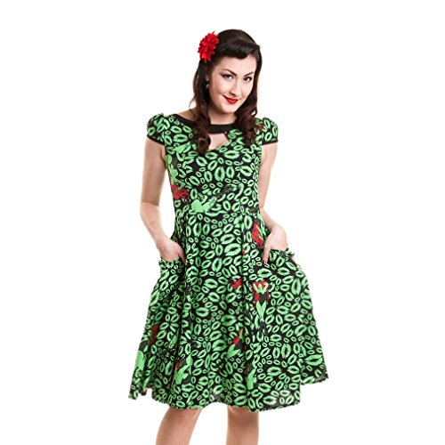 Green Kleid Ivy Poison (Batman Rockabilly Damen Kleid - Poison Ivy Midi Dress Kurzarm)
