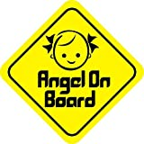 isee360 Baby On Board,Reflective Background Yellow,Angel,Windows, Car Sticker