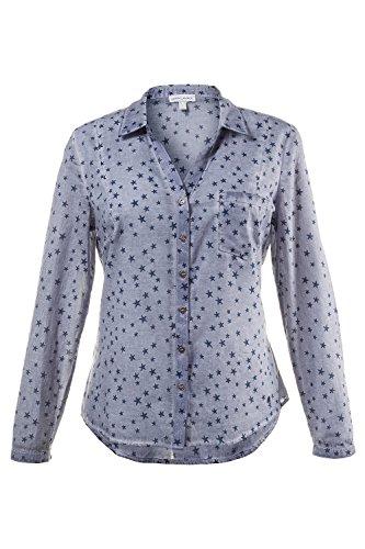 GINA_LAURA Damen | Hemd | Langarm & Manschetten | Regular-Fit | bis Größe XXXL | 709733 Blaugrau