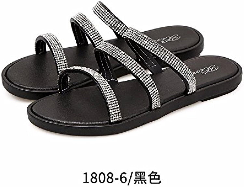 LiUXINDA-XZZ: sandalias de verano frescas, zapatos de playa con fondo plano, zapatillas de moda, parte inferior...