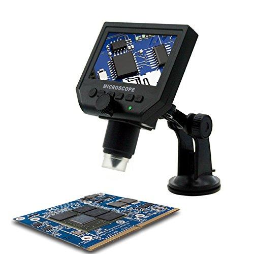 """Microscopio Digitale Portatile 4.3\"""" LCD Ingrandimento 600X Batteria al Litio Ricaricabile per Riparazione Schede Elettroniche Strumento Saldatura"""