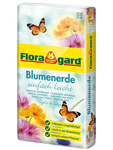 Floragard torfreduzierte Blumenerde einfach leicht 70 L • Universalerde • mit 3-Monate-Langzeitdünger für Balkon-, Kübel- und Zimmerpflanzen • mit dem Naturdünger Guano