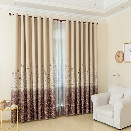 Kinlo 2 pannelli tende tulle trasparenti 145 x 245 cm 100% poliestere tenda decorativo motivo del castello di mare - marrone