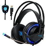SADES [ Dernière Stéréo Micro-Casque Gaming ] Casque à l'écoute Ultra-léger USB Headset avec LED idéal pour les Amateurs de Jeu (Noir+blue)