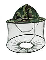Army Green Camouflage Pattern Mesh Veil Hood Anti Fly Insect Mosquito Fishing Hat