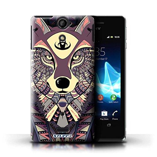 Kobalt® Imprimé Etui / Coque pour Sony Xperia V/LT25i / Loup-Couleur conception / Série Motif Animaux Aztec Loup-Cramoisi
