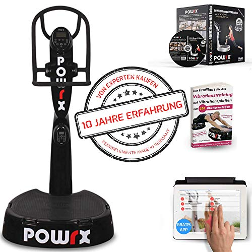 POWRX Professionelle Vibrationsplatte Active Evolution 4.0 inkl. Trainings App mit Videos - Zubehörpaket I Effektives Vibrationstraining wie im Studio I schwarz